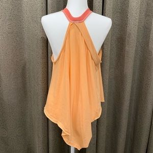 "Free People Tops - We The Free ""Twin Peaks"" Orange and Pink Tank Top"
